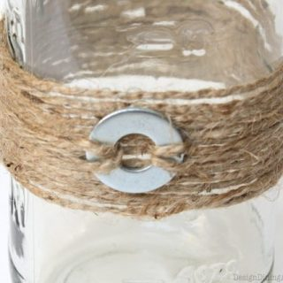 Mason Jars Adorned with Jute and Washers