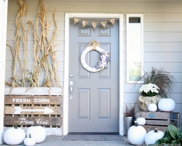 Neutral Fall Porch , neutral fall decor, white pumpkins, corn stalks, Vintage Farm house signs, gray door, fabric wreath, burlap bunting