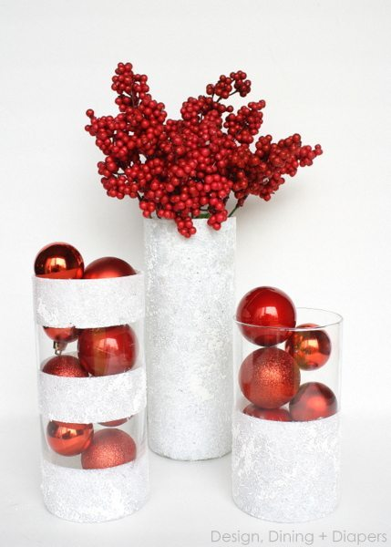These winter vases from dollar store finds are such an inexpensive and cute way to add holiday decor to your home!