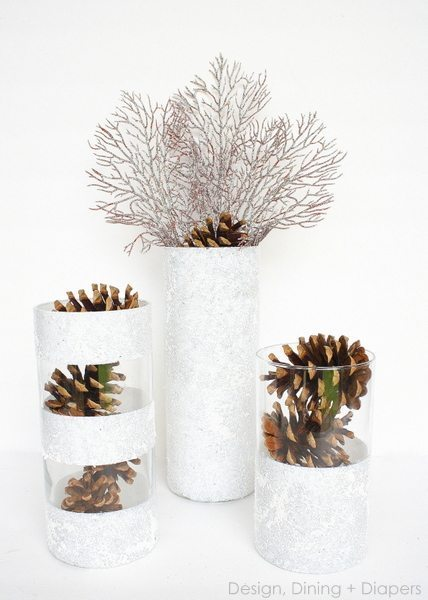 These winter vases using dollar store vases and filler items are such a cheap way to add holiday decor to your home!