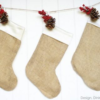 Burlap Christmas Stockings by Design, Dining + Diapers, DIY Christmas Stockings, burlap christmas decor