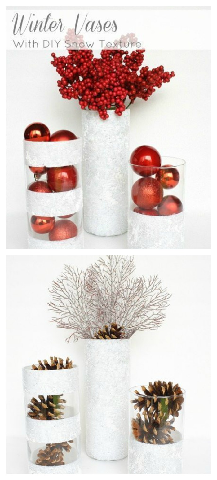 These DIY Winter Vases are the perfect way to add holiday decor into your home on a budget! Grab these cylinder vases from the dollar store and paint them!