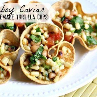 Cowboy Caviar in Homemade Tortilla Cups