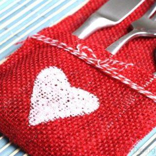 DIY Burlap Utensil Holder-Valentine's Day Edition