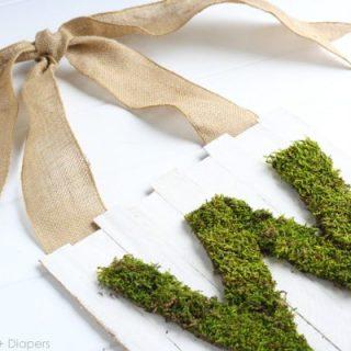 Moss Monogram Door Sign For Spring