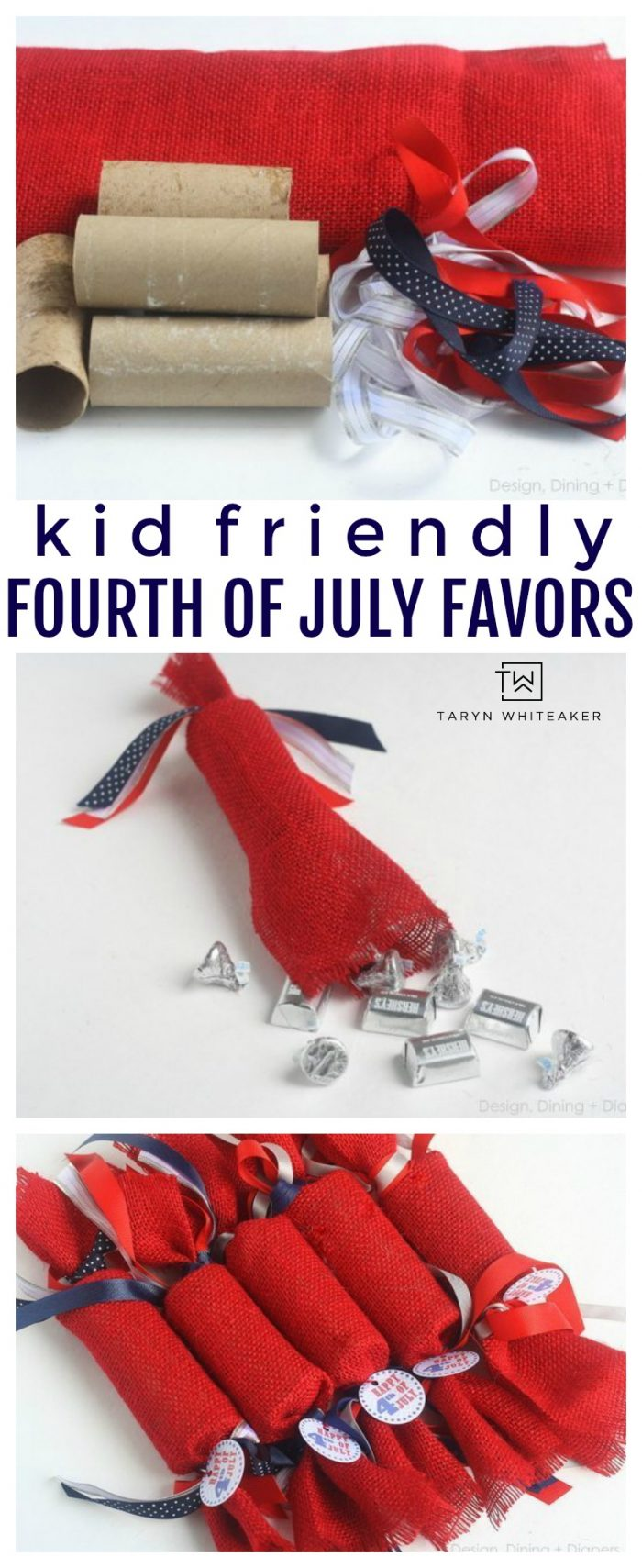 Make these easy Fourth of July Party Favors for your festivities! These are kid friendly party favors made from recycled tp rolls! Cute, easy and inexpensive.