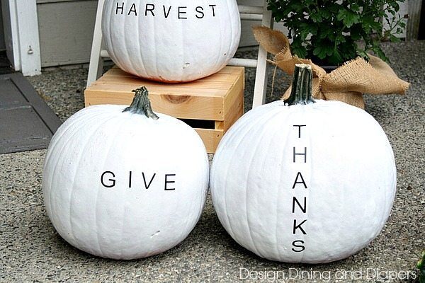 How cool are these?! Typography pumpkins using spray paint and vinyl letters via @tarynatddd