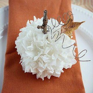 Thanksgiving Place Card Idea-Tissue Paper Pumpkin