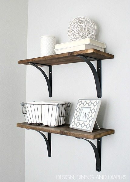 Cool DIY Rustic Bathroom Shelves Easy and inexpensive via designdininganddiapers