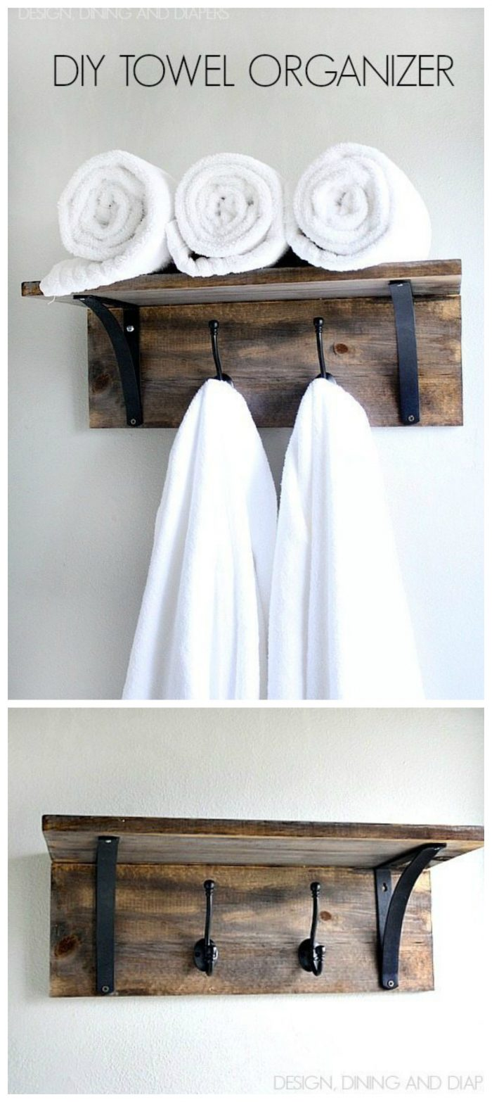 Don't have time to fold your towels? Make this DIY Towel Organizer with a rustic farmhouse style! Perfect for your Fixer Upper Bathroom!