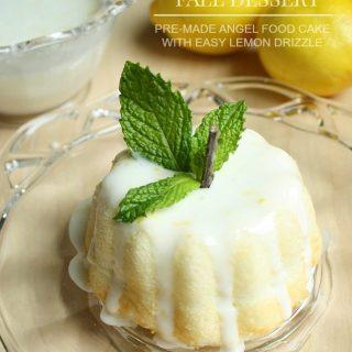 Pumpkin Angel Food Cake With Lemon Drizzle