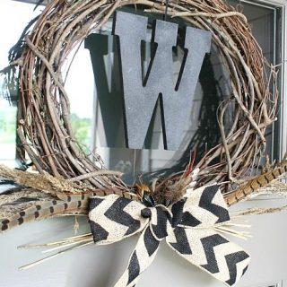 Fall Monogram Grapevine Wreath