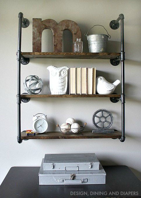 DIY Industrial Farmhouse Shelves! Learn how to make these pipe shelves like the ones on Fixer Upper for your own home.