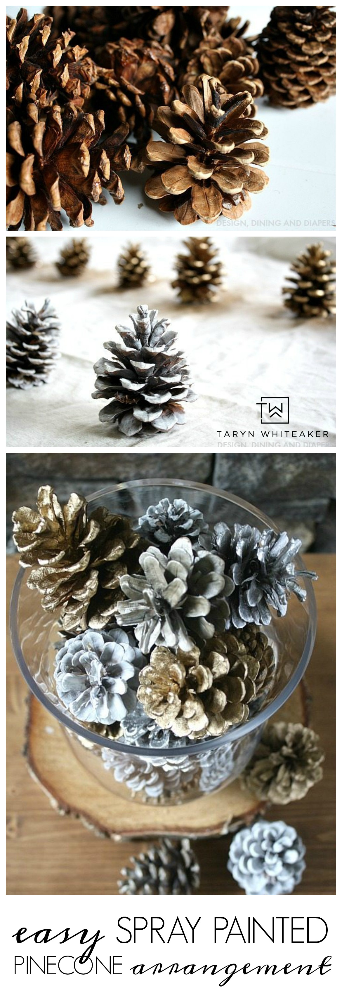 Quick Holiday Decor: Spray Painted Pine Cones Arrangement ! This five minute holiday craft will glam up your table for the holidays!