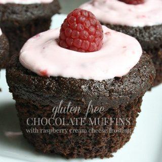 Gluten Free Chocolate Muffins With Raspberry Cream Cheese Topping