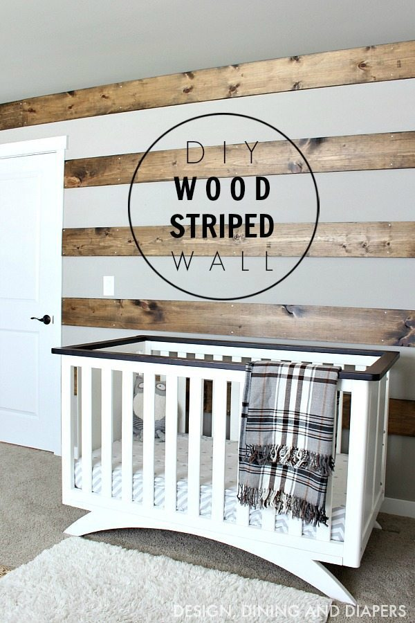 DIY Wood Striped Wall in rustic nursery! This wood accent wall is a great way to take up space and add texture.