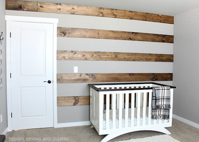 diy wood striped wall transform that blank wall in a day. Black Bedroom Furniture Sets. Home Design Ideas