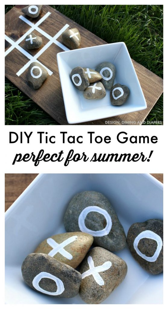 Make this DIY Outdoor Tic Tac Toe Game For Summer Gatherings! Such an easy summer craft using scrap wood and river rocks.