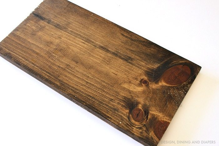 Stained Wood Board with Minwax Dark Walnut