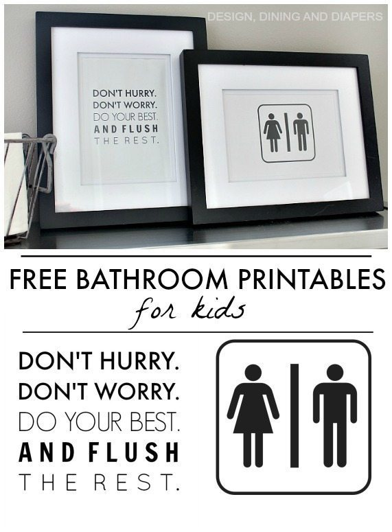 Free bathroom printables available for instant download! Such an inexpensive and easy way to add cute and fun decor to a kid's bathroom.