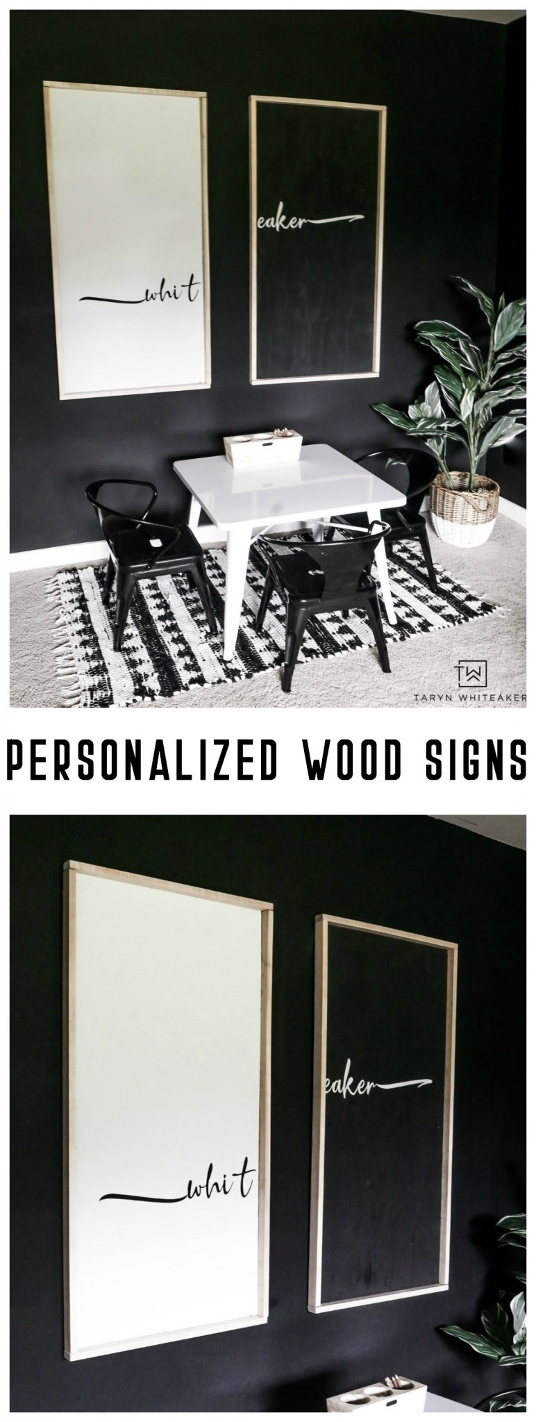 Learn how to make your own personalized wood signs using this tutorial! Pick your own fonts and style to make these either more farmhouse style or modern abstract.