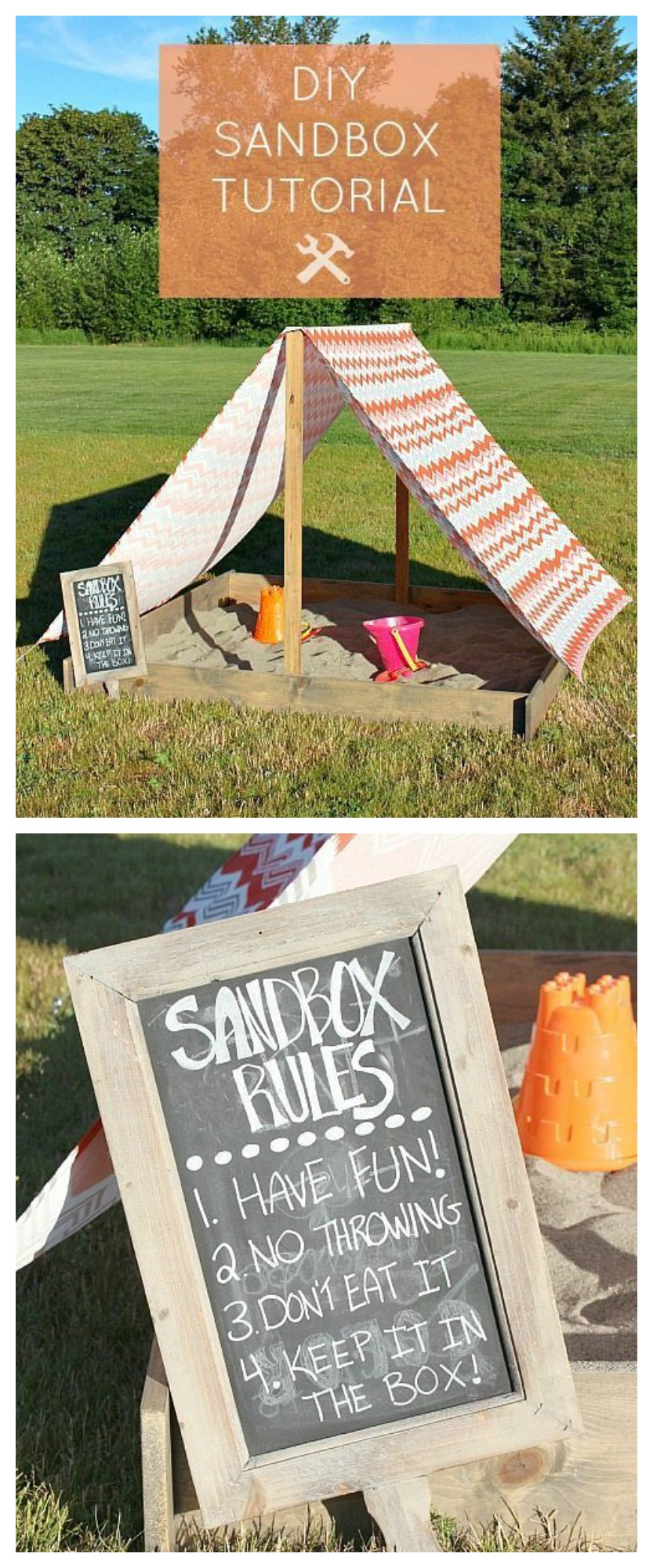 Learn how to make this easy DIY Sandbox With Cover ! Protect your kids from the sun while they have hours of backyard entertainment.