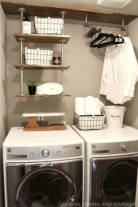Learn how to create this DIY Industrial Laundry Room Shelving for a small laundry room! Get the metal pipes at the hardware store and build a unique and practical system to help you stay organized!
