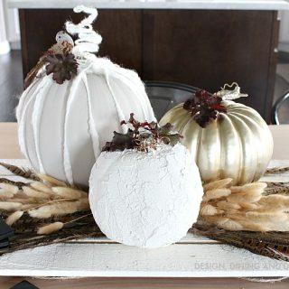 Neutral Fall Centerpiece with DIY Pumpkins
