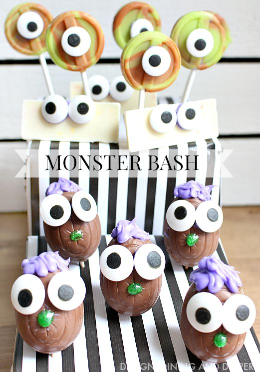 Easy Halloween Treat Ideas!! Create your own kid friendly Monster Bash using Hershey Candies and candy eyes! These are so easy to make and would be a great fall activity for kids!