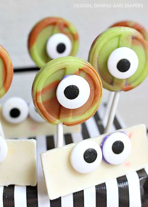 Create your own kid friendly Monster Bash using Hershey Candies and candy eyes! These are so easy to make and would be a great fall activity for kids!