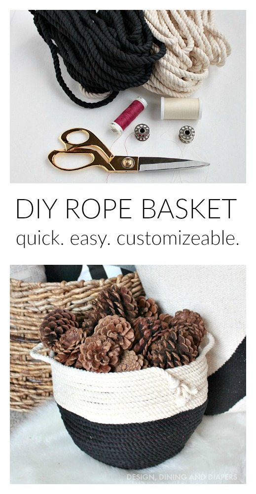 Learn how to make this DIY Rope Basket! Fill it with pinecones, logs, greenery or make a large one for blankets!