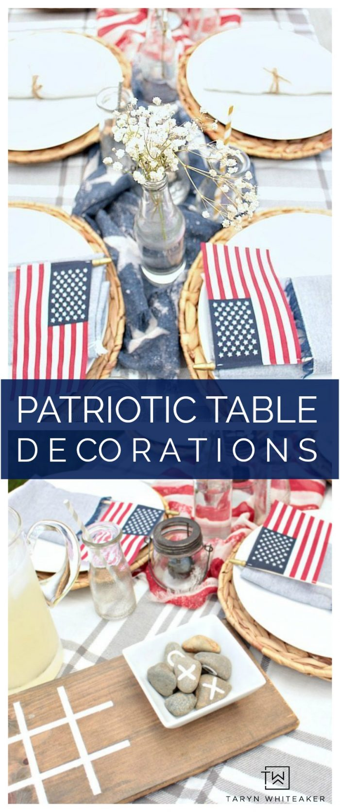 Create your own patriotic table decorations on a budget using household items and dollar stores finds! This red, white and blue table is inexpensive and yet festive!