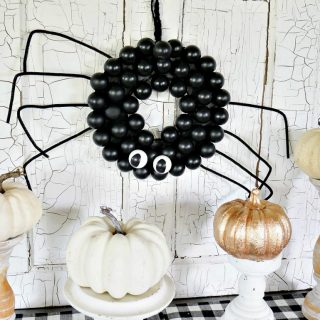 DIY Spider Wreath Using Ping Pong Balls