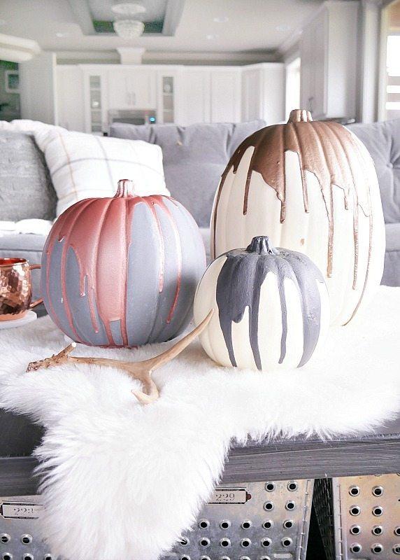 Modern DIY Paint Dripped Pumpkins!