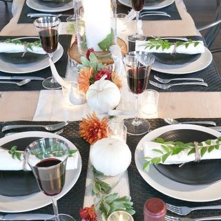Black and White Rustic Modern Fall Table Setting