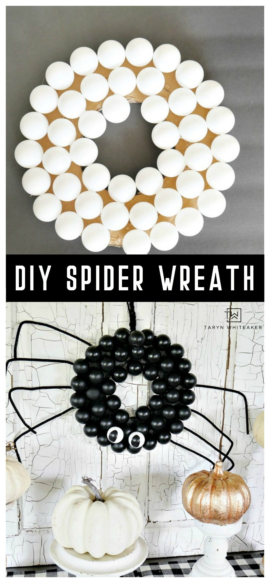 Learn how to make this cute DIY Spider Wreath out of ping pong balls! Such an easy and cute DIY Halloween Project for your door!
