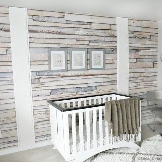 Whitewashed Wood Wallpaper Accent Wall