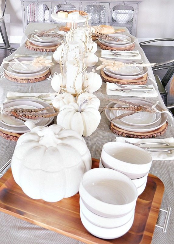 White and gray fall table setting full of warm tones and white pumpkins!