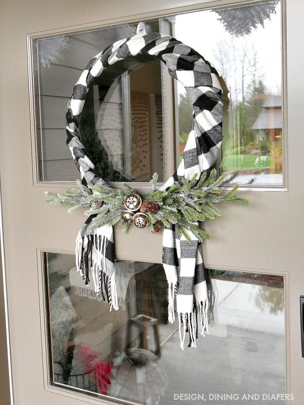 Black and White Buffalo Check Wreath