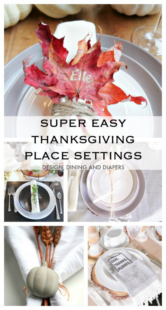 Easy Thanksgiving Place Setting Ideas - so many great fall table settings you can make using things from nature or around the house