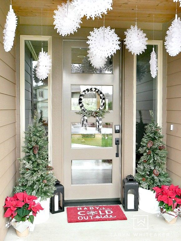 Festive Red and White Christmas Porch with lanterns, trees and snow flakes