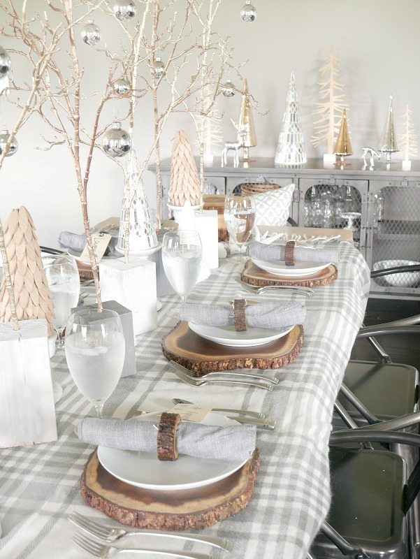 Cozy and Elegant Winter Table Setting  with gray and cream with metallic accents