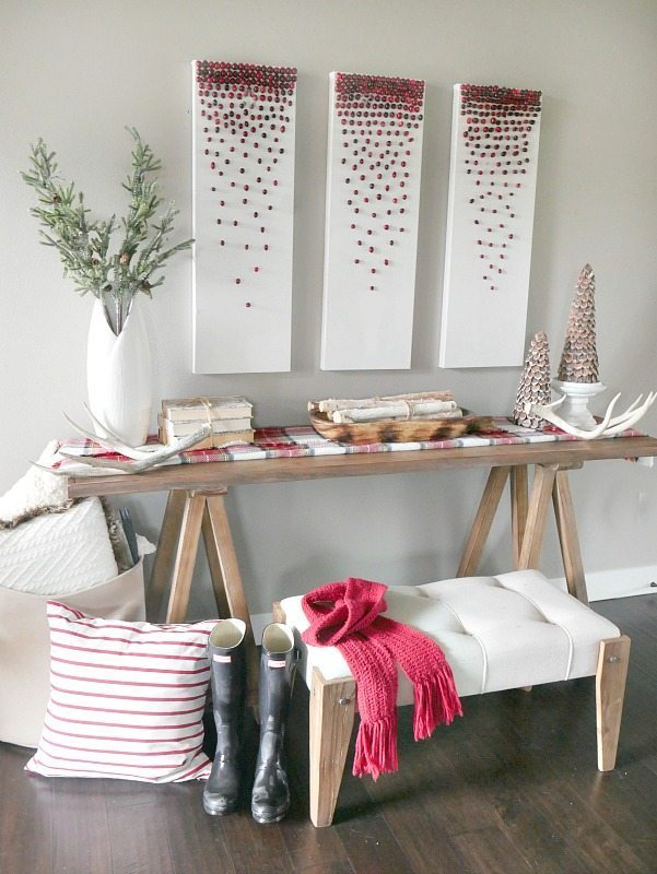 Christmas Entry Way with pops of red and plaid