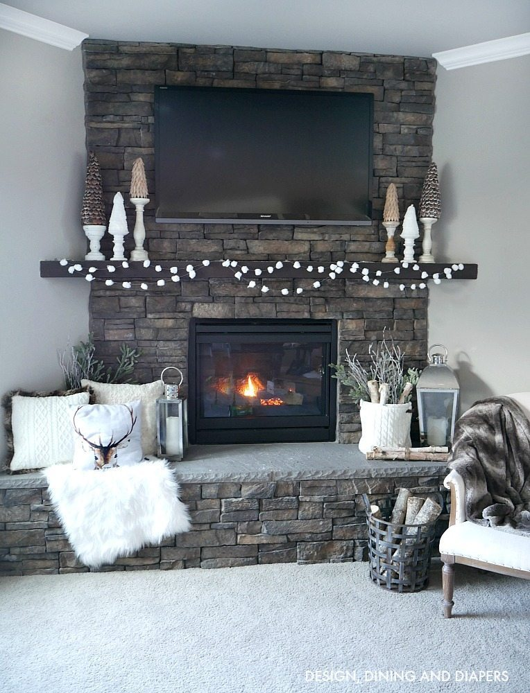 Cozy Winter Mantel filled with winter white decor and decorative trees