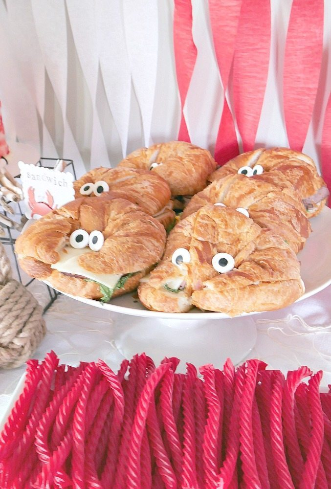 Crab Birthday Party complete with crab croissants and licorice ropes!