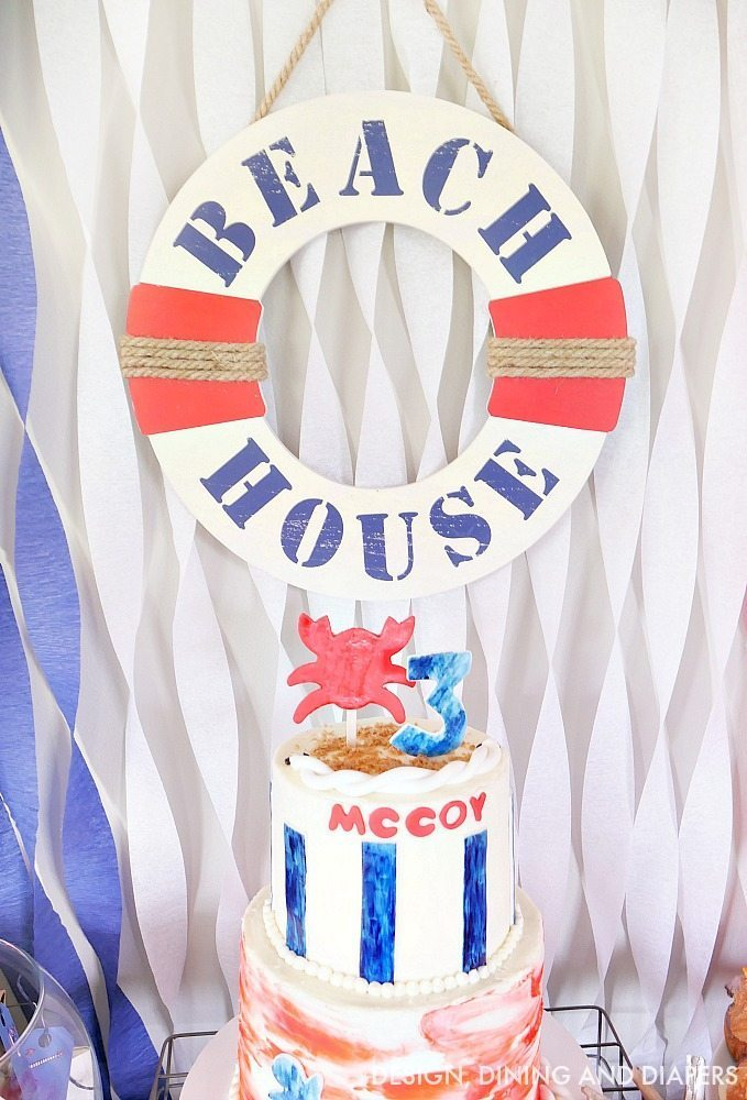 Adorable crab birthday cake idea for this nautical themed birthday party!