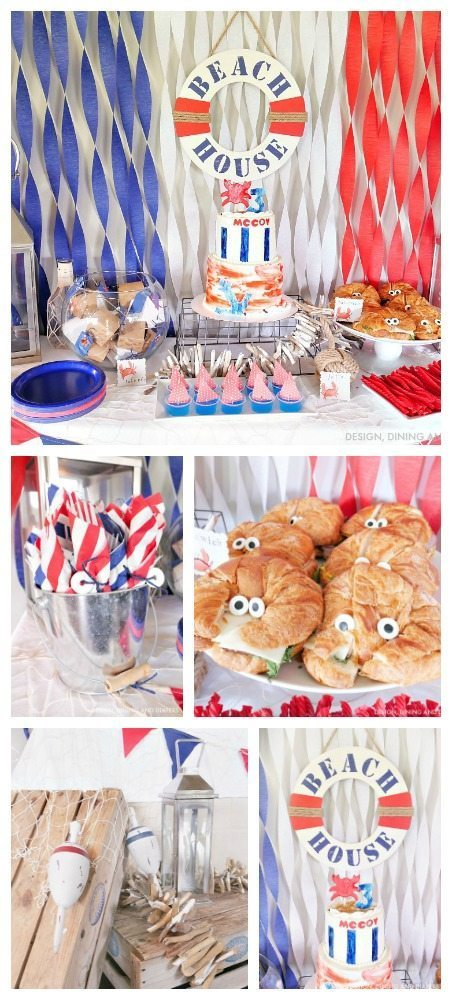 Tons of ideas for a Nautical Birthday Party Theme with tons of cute crab themed party decor for kids!
