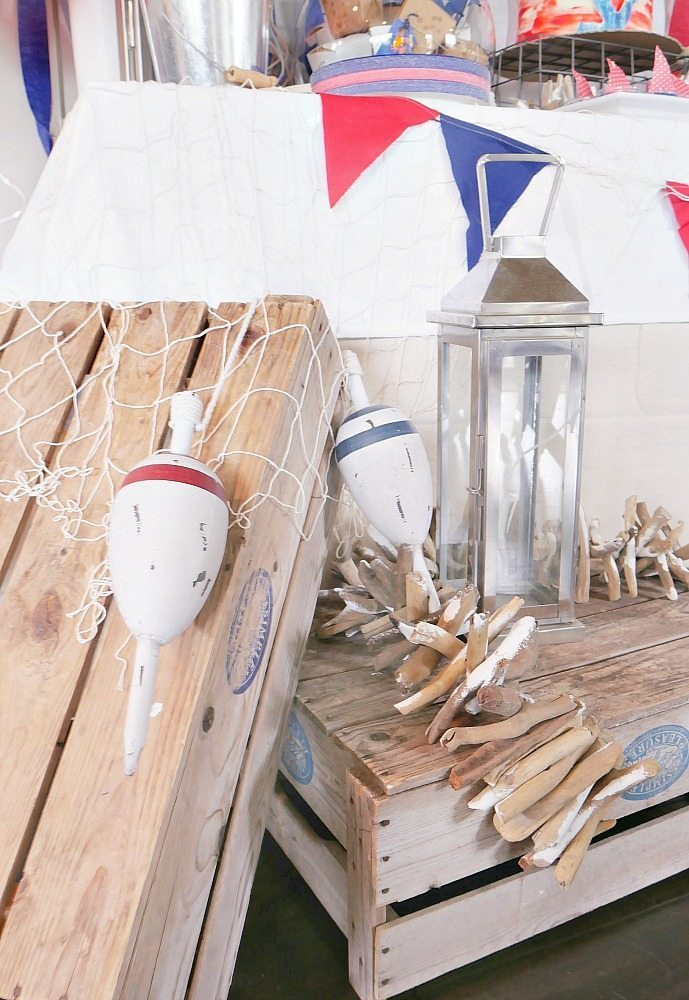 Tons of hobby lobby nautical decor items used at this party!