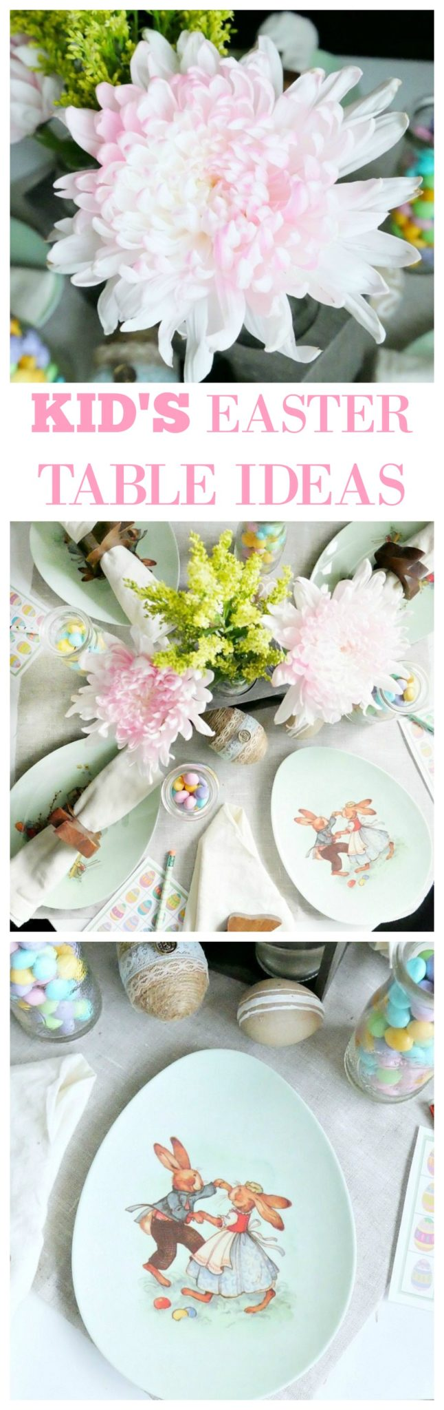 Great ideas for putting together a quick and cute Easter Table for Kids! Cute Easter plates, fresh flowers, and a little Easter treat!
