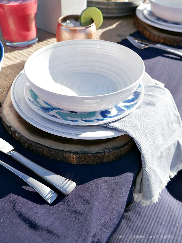 Blue and White Rustic Outdoor Dinnerware